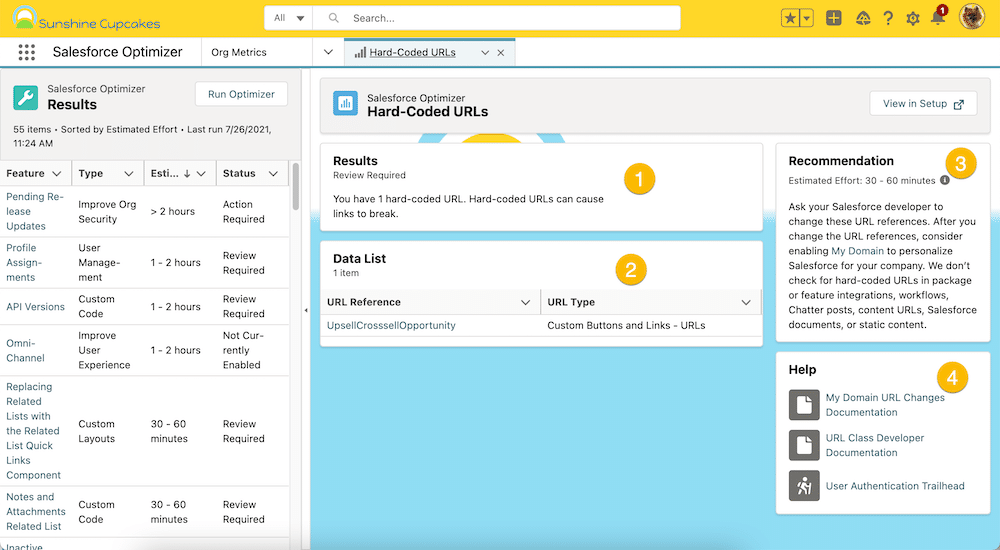 Screenshot of Optimizer showcasing results, a list of items for review, recommendations, and resources.