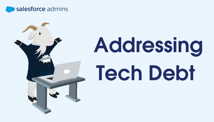 """Cloudy next to a computer and text that says """"Addressing Tech Debt."""""""