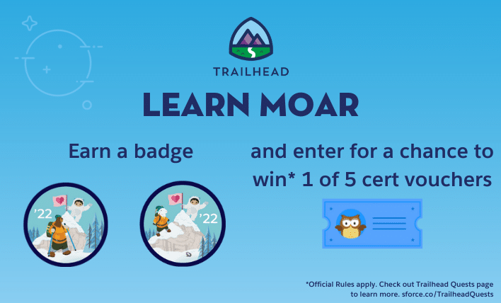 Earn a Learn Moar badge and enter for a chance to win 1 of 5 cert vouchers.