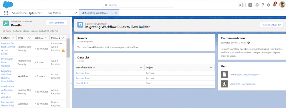 The Optimizer screen for Migrating Workflow Rules to Flow Builder.