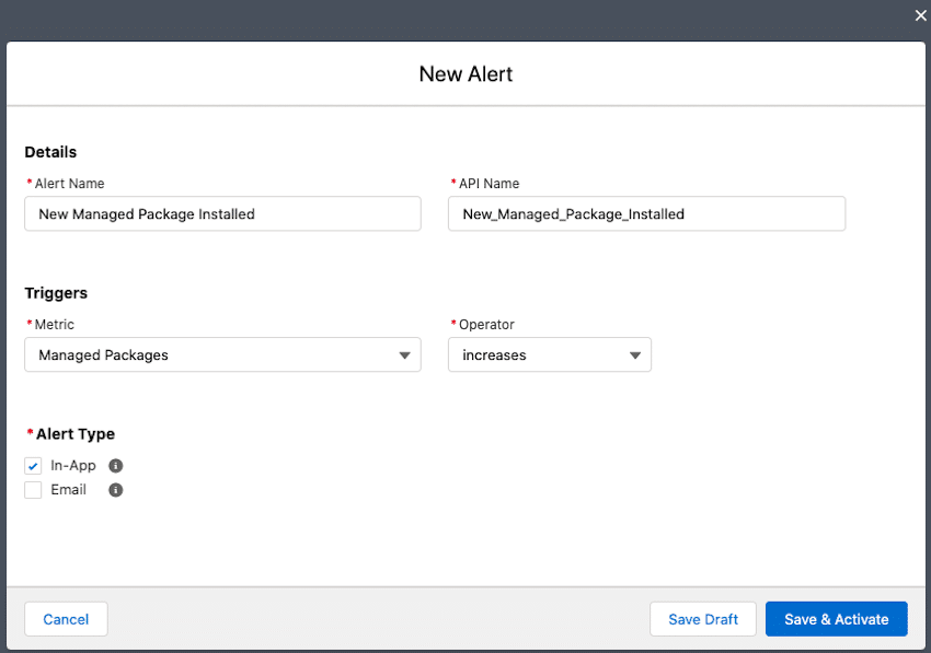 How to set an alert so that only approved apps get installed in any of your company's orgs.