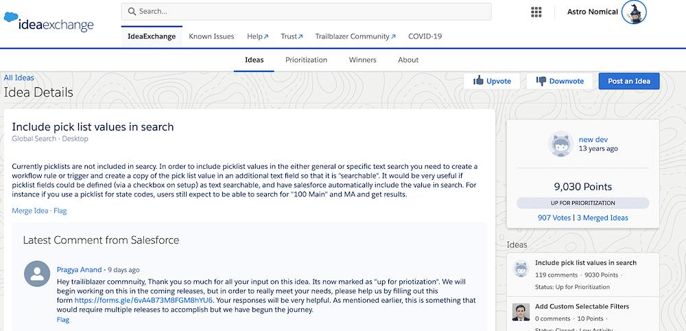 Einstein Search searchable field configuration idea on Idea Exchange.