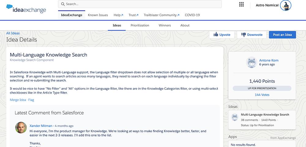 Multi-language search idea on Idea Exchange.