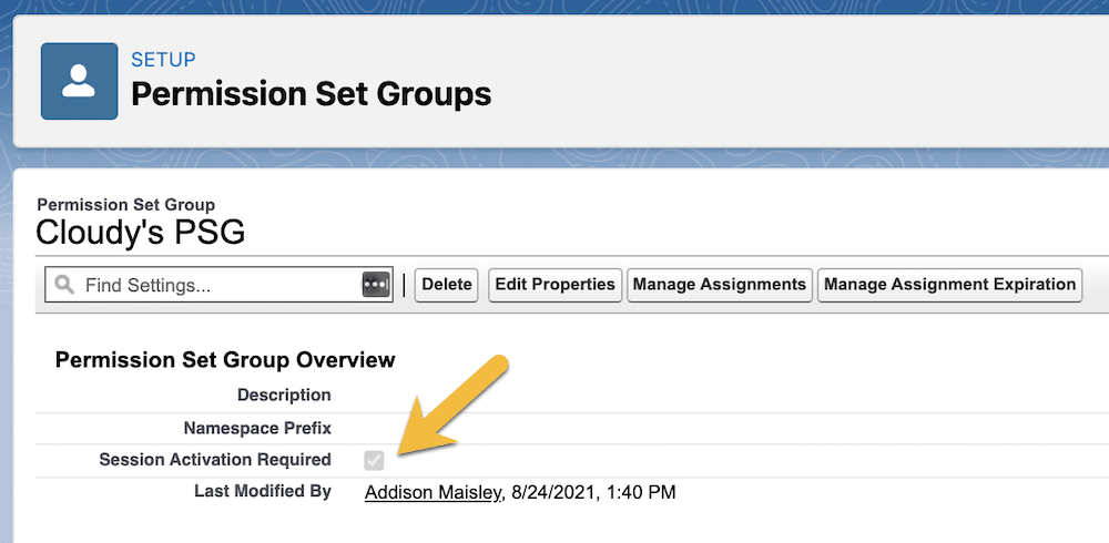Permission set group with session activation required enabled.