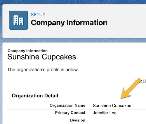 The Company Information page in Setup with an arrow pointing to Organization Name.
