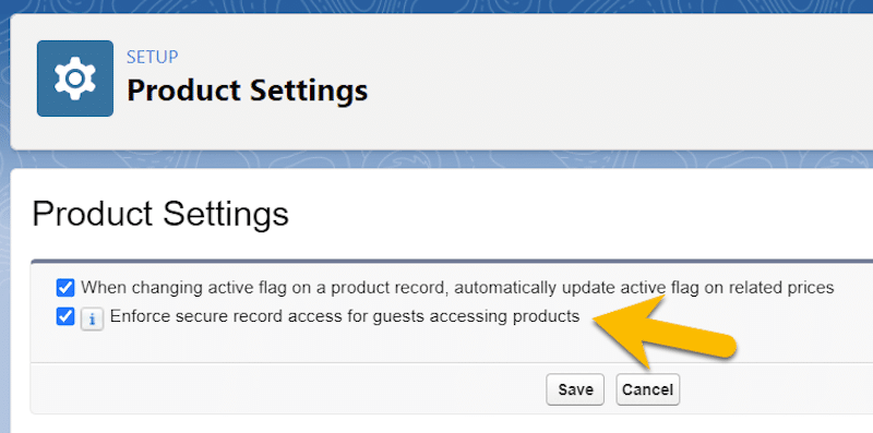 The Product Settings page with the feature enabled.