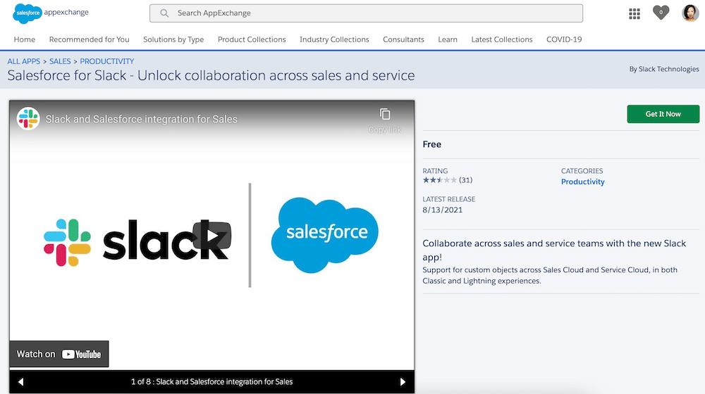 Salesforce for Slack app on the AppExchange