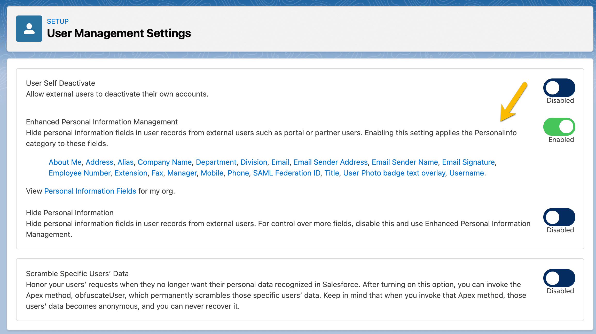 Enhanced Personal Information Management section of the User Management Settings page.