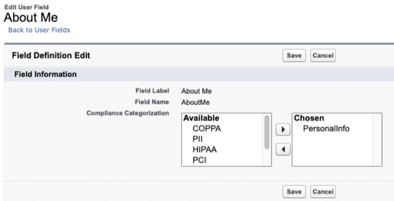 The About Me custom field and the Compliance Categorization attribute.