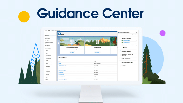 A computer monitor showcasing the Guidance Center in Salesforce.