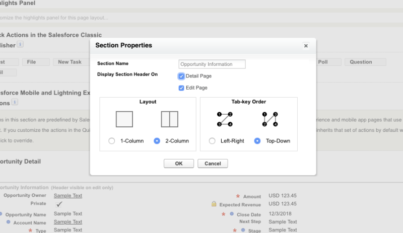 The section properties modal from the page layout editor with 'Display Section Header On' checked for both Detail Page and Edit Page.