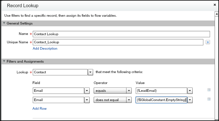 Salesforce Visual Workflow : Step 2 - Contact Lookup