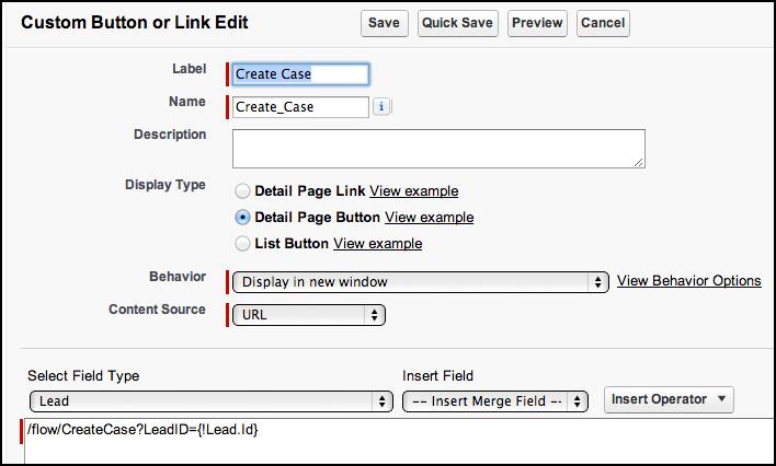 Step 5 Button URL : Salesforce Visual Workflow- Keith Sadler
