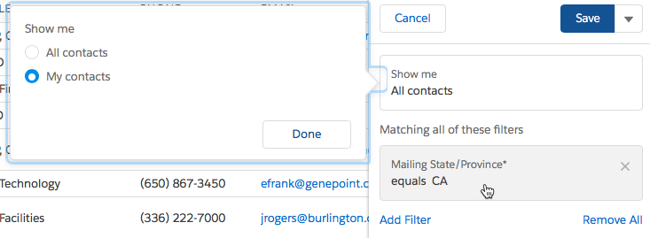 list view filters